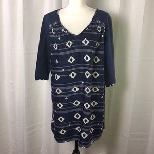Roxy Navy Blue Diamond Pattern Shift Dress